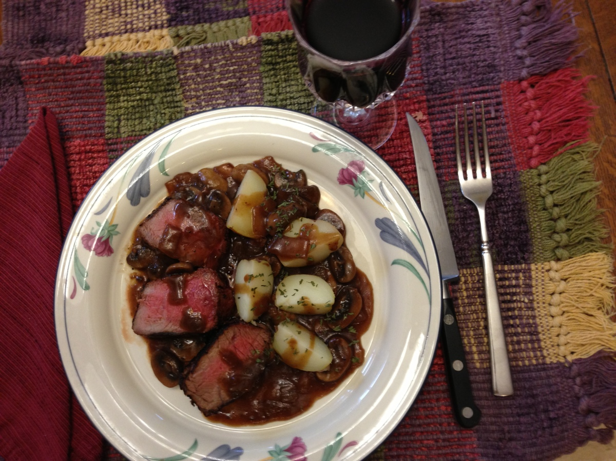 Beef Tenderloin, Port Mushroom Gravy and Red Potatoes -  Date Night Dinner