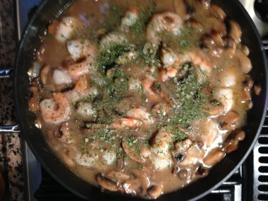 Add shrimp and chives
