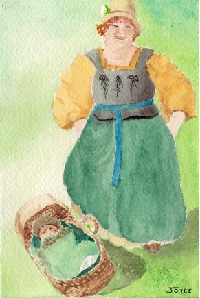Watercolor of European Family by Joyce