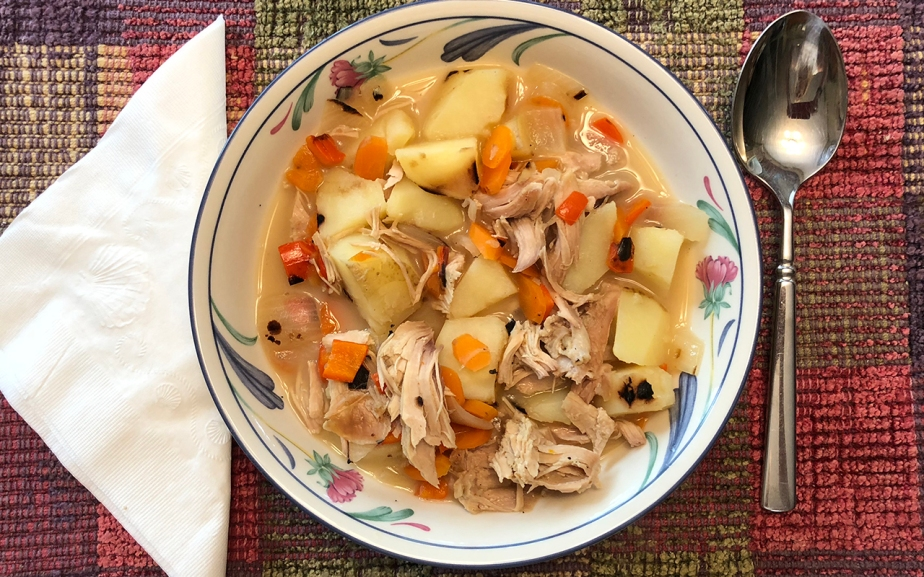 Lunch Today – Grilled Veggie Soup withTurkey